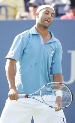 James Blake competes in first round of US Open tennis in New York