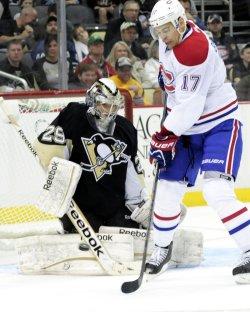 Pens Fleury Blocks Canadiens Shot in Pittsburgh