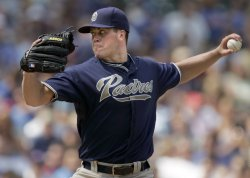 San Diego Padres Starting Pitcher Richard Throws Against Chicago Cubs