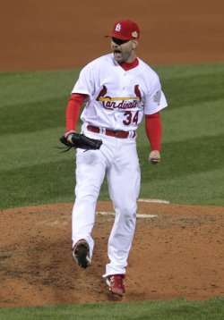Cardinals pitcher Marc Rzepczynski celebrates during game 1 of the World Series in St. Louis