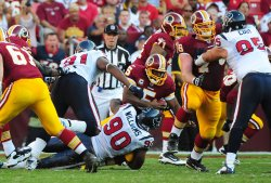 Washington Redskins' quarterback Donovan McNabb is sacked in Washington