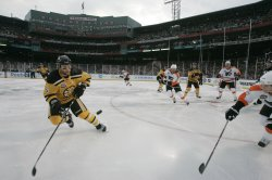 Bruins take on Flyers in NHL Winter Classic at Fenway Park in Boston, MA.