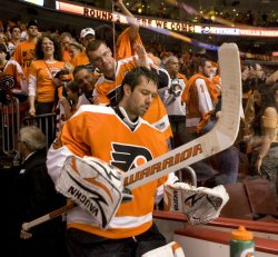 Flyers goalie Brain Boucher on the ice after the game in Philadelphia.