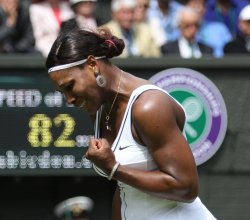 Serena Williams celebrates at Wimbledon.