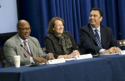 Ambassador Ron Kirk, Administrator Karen Mills, and Administrator Michael Camunez attend the U.S. Department of Commerce, delivers remarks at the Conference on Connecting the Americas in Washington