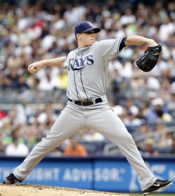 Tampa Bay Rays starting pitcher Jeremy Hellickson throws a pitch at Yankee Stadium in New York