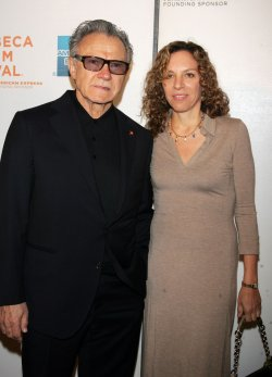 """Harvey Keitel and wife Daphna Kastner arrive for the Premiere of """"Ondine"""" at the Tribeca Film Festival in New York"""