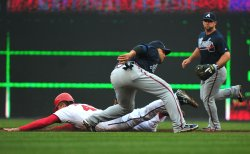 Atlanta Braves' shortstop Alex Gonzalez tags out Washington Naitonals' Rick Ankiel in Washington