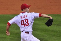 Phillie's pitcher J.A. Happ pitches against the Yankees during Game 3 of the World Series in Philadelphia