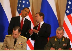 U.S. President Obama and Russian President Medvedev meet in Moscow