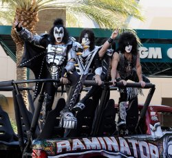 (L-R) Musicians Gene Simmons, Tommy Thayer, Eric Singer and Paul Stanley of the band KISS arrive at the Academy of Country Music Awards in Las Vegas