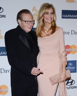 Larry King and Shawn Southwick attend the Clive Davis pre-Grammy party in Beverly Hills, California