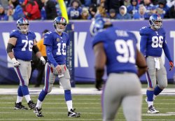New York Giants Eli Manning gets set to throw a pass at MetLife Stadium in New Jersey