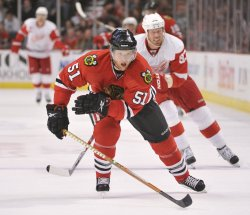 Blackhawks Campbell skates against the Red Wings in Chicago