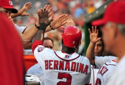 Nationals' Roger Bernadina is congratulated in Washington