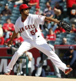 Los Angeles Angels vs Cleveland Indians in Anaheim, California, baseball