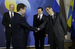 Russian President Medvedev attends a one-day EU-Russia summit in Stockholm