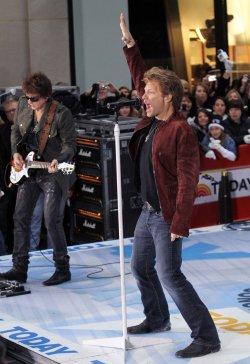 Jon Bon Jovi and Richie Sambora of bon Jovi perform on the NBC Today Show at Rockefeller Center in New York