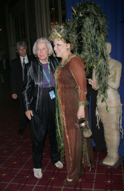 Bette Midler and Liz Smith arrive for Bette Midler's Hulaween benefit gala in New York