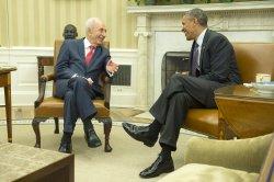 President Barack Obama meets with Israeli President Shimon Peres in Washington, D.C.