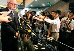 U.S. special envoy to North Korea Stephen Bosworth holds an impromptu press conference in Beijing