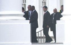 Republican Senators arrives at the White House in Washington