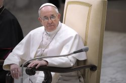 Pope Francis speaks during a private audience to members of the media