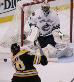 Bruins Paille shoots against Canucks Luongo in game 3 of Stanley Cup Finals in Boston, MA.