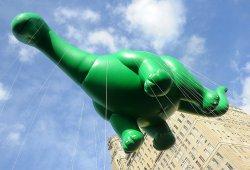 The Sinclair Oil Corp. dinosaur balloon at Thanksgiving Parade