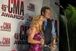 Male Vocalist of the Year Blake Shelton and Female Vocalist of the Year Miranda Lambert at the 2011 CMA Awards in Nashville