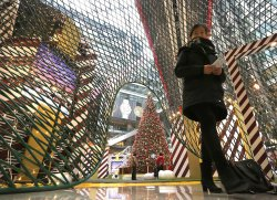 Mall is decorated for Christmas in Beijing