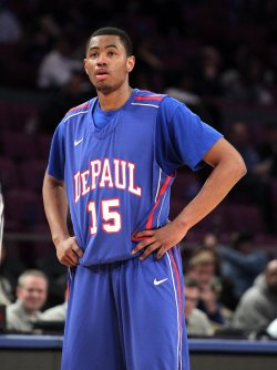 DePaul Blue Demons Moses Morgan at the NCAA Big East Men's Basketball Championships Finals in New York