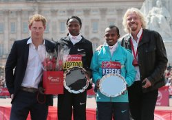 Prince Harry, Sir Richard Branson, Priscah Jeptoo and Tsegaye Kebede at the 2013 London Marathon.