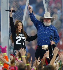 GRETCHEN WILSON AND CHARLIE DANIELS PERFORM IN THE PRE GAME SHOW AT SUPERBOWL XXXIX