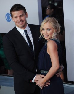 David Boreanaz and Jaime Bergman attend the 38th annual People's Choice Awards in Los Angeles