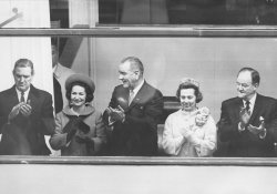 President and First Lady Lyndon Johnson Inaugural Parade in front of the White House