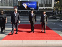 Don Mischer, Jimmy Kimmel and Bruce Rosenblum participate in Red Carpet Rollout for the 64th Primetime Emmy Awards