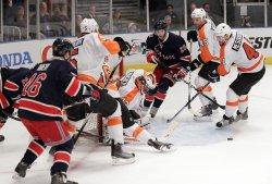 Philadelphia Flyers Brian Boucher at Madison Square Garden in New York