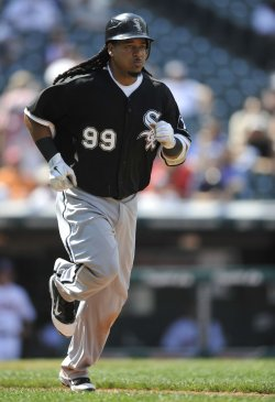 Manny Ramirez Of White Sox Advances To First After Hit By Pitch
