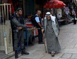 Palestinian Walks Past Israeli Border Police Old City Jerusalem