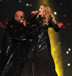 Madonna and Cee Lo Green Perform at Halftime during Super Bowl XLVI in Indianapolis