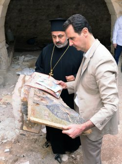 Syrian President Bashar Al-Assad VisitsTown Recaptured From Rebels