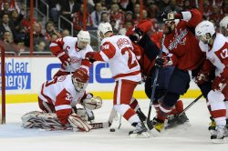 Chris Osgood Makes a Save in Washington, DC