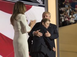 Trump hugs son Barron at the GOP convention in Cleveland