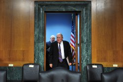 Sen. Carl Levin arrives for a hearing on Syria in Washington, D.C.