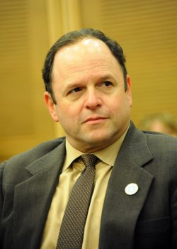 American actor Jason Alexander participates in a debate in the Israeli Knesset in Jerusalem