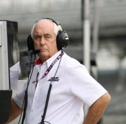 Roger Penske Manages his team at the Indianapolis Motor Speedway, in Indianapolis, Indiana.