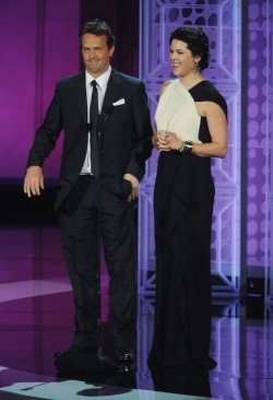 Actors Matthew Perry and Lauren Graham present an award at the 62nd annual Primetime Emmy Awards in Los Angeles
