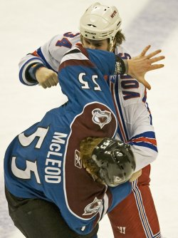 Avalanche McLeod and Rangers Voros Fight in Denver