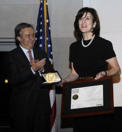 Victoria Kennedy accepts the Nansen Refugee Award on behalf of her husband Sen. Ted Kennedy in Washington